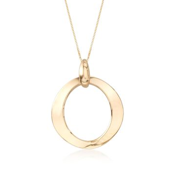 14kt Yellow Gold Open Circle Pendant Necklace, , default