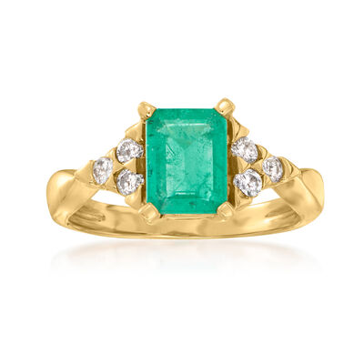 1.70 Carat Emerald and .24 ct. t.w. Diamond Ring in 14kt Yellow Gold