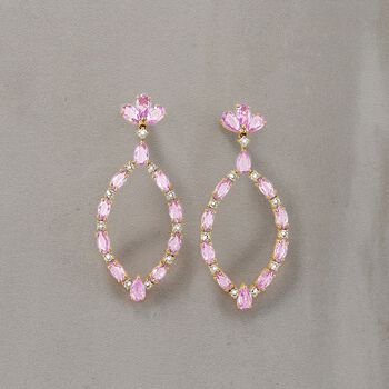 4.80 ct. t.w. Pink Sapphire and .47 ct. t.w. Diamond Oval Drop Earrings in 18kt Rose Gold, , default