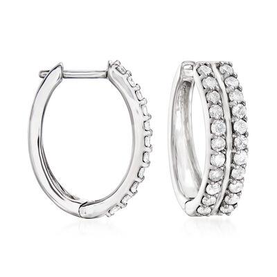 1.00 ct. t.w. Diamond Double-Row Hoop Earrings in Sterling Silver, , default