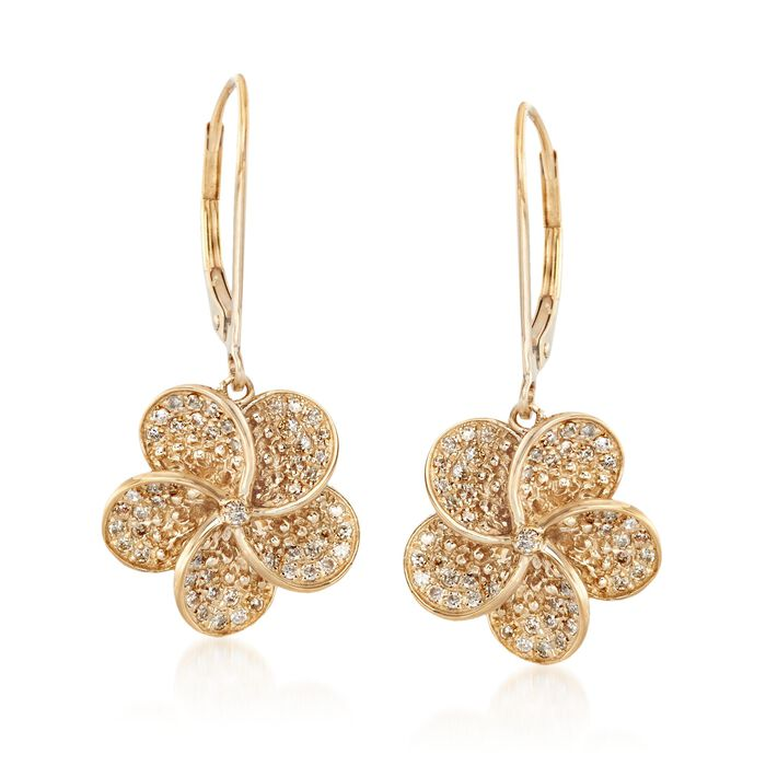 .36 ct. t.w. Diamond Floral Drop Earrings in 14kt Gold Over Sterling