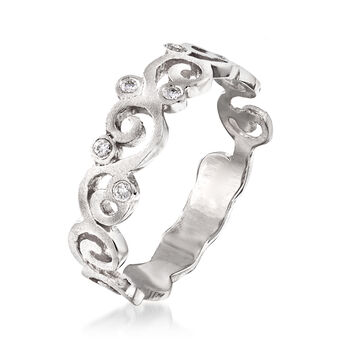 14kt White Gold Spiral Ring with Diamond Accents. Size 8, , default