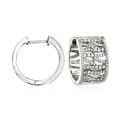 .50 ct. t.w. Diamond Tiger-Print Hoop Earrings in Sterling Silver