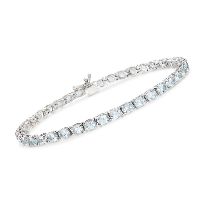 7.00 ct. t.w. Aquamarine Tennis Bracelet in Sterling Silver, , default