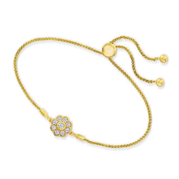 .50 ct. t.w. Diamond Flower Bolo Bracelet in 18kt Gold Over Sterling