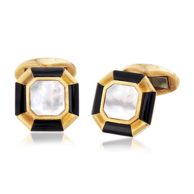 C. 1960 Vintage Tiffany Jewelry Men's Mother-Of-Pearl and Black Onyx Cuff Links in 18kt Yellow Gold, , default