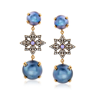 Mabe Pearl, .80 ct. t.w. White Topaz and .30 ct. t.w. Tanzanite Drop Earrings in 18kt Gold Over Sterling , , default