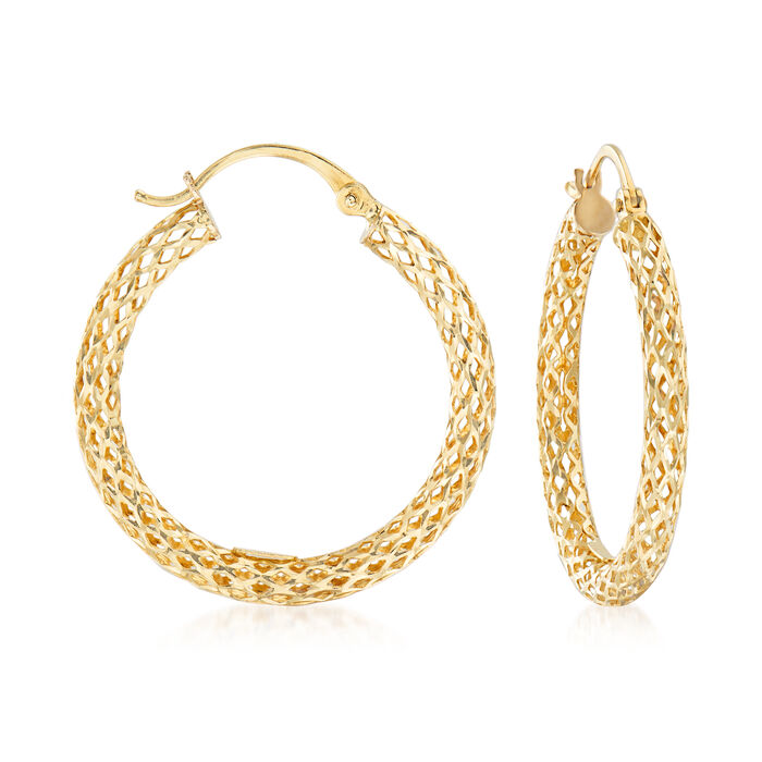 14kt Yellow Gold Mesh Hoop Earrings