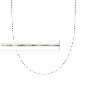 """Italian 1mm 14kt White Gold Adjustable Slider Box Chain. 22"""", , default"""