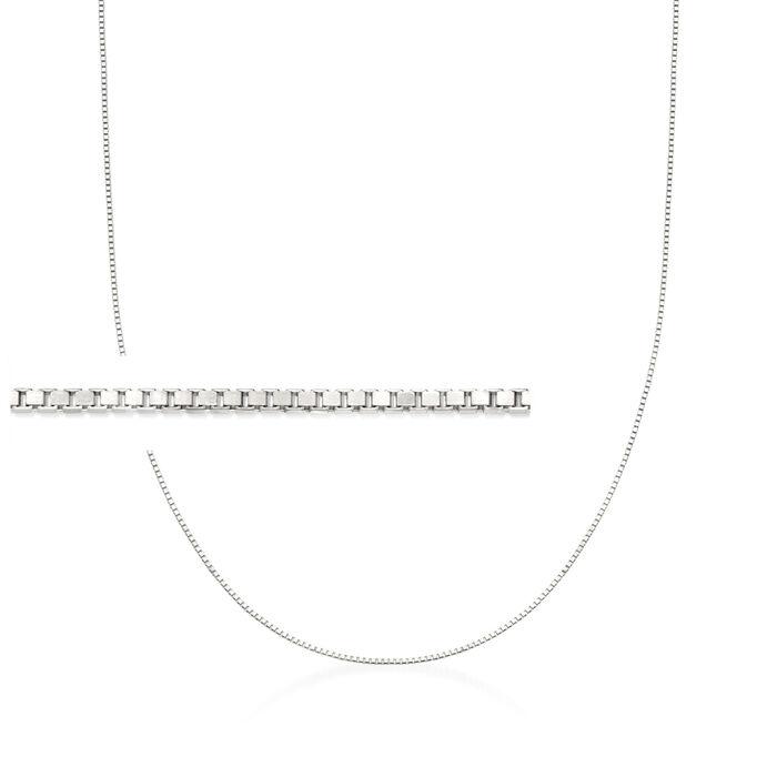 ".8mm 14kt White Gold Adjustable Box Chain Necklace. 22"", , default"