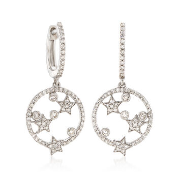 .63 ct. t.w. Diamond Round and Star Open Circle Drop Earrings in 14kt White Gold, , default