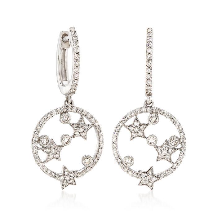.63 ct. t.w. Diamond Open-Circle Star Hoop Drop Earrings in 14kt White Gold