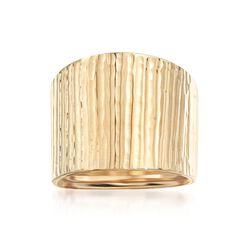 Italian 14kt Yellow Gold Wide Ridged Ring, , default