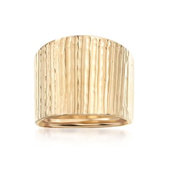 Italian 14kt Yellow Gold Wide Ridged Ring. Size 5, , default