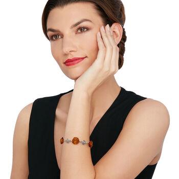 """6-15mm Amber Rose-Link Bracelet in Sterling Silver. 7"""""""