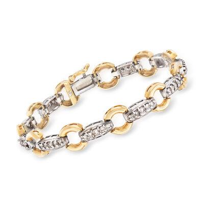 C. 1990 Vintage 2.00 ct. t.w. Diamond Section Bracelet in 14kt Two-Tone Gold, , default