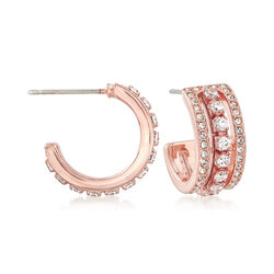 Swarovski Crystal J-Hoop Earrings in Rose Gold-Plated Metal, , default