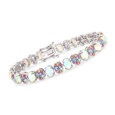 Opal and 4.30 ct. t.w. Multi-Gemstone Bracelet in Sterling Silver, , default