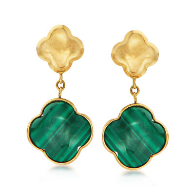 Italian Malachite Clover Drop Earrings in 14kt Yellow Gold