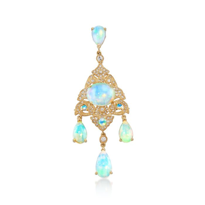 Opal and .50 ct. t.w. Diamond Chandelier Pendant in 14kt Yellow Gold , , default