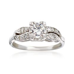 C. 1950 Vintage .50 ct. t.w. Diamond Ring in 14kt White Gold, , default