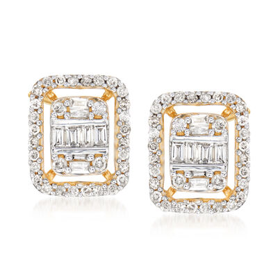 .50 ct. t.w. Round and Baguette Diamond Frame Earrings in 14kt Yellow Gold, , default