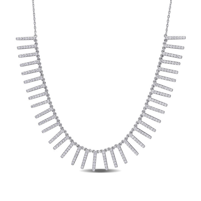 """1.50 ct. t.w. Diamond Necklace in 14kt White Gold. 15.25"""", , default"""