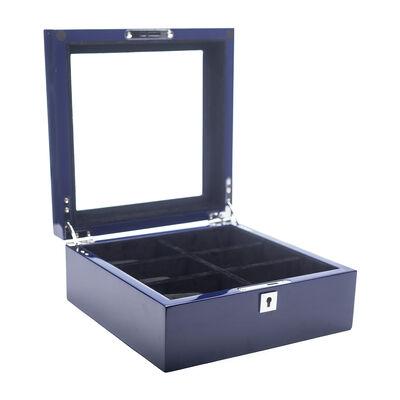Brouk & Co. 6 Slot Blue Wooden Watch Box, , default