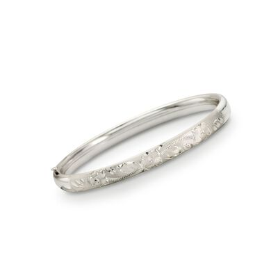 Child's Sterling Silver Engraved Bangle Bracelet