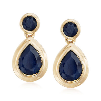 2.90 ct. t.w. Sapphire Drop Earrings in 14kt Yellow Gold, , default