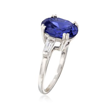 Oval Simulated Tanzanite and CZ Ring in Sterling Silver, , default