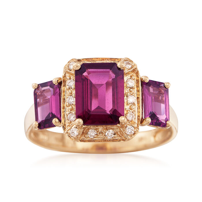 3.90 ct. t.w. Rhodolite Garnet Ring with Diamond Accents in 14kt Yellow Gold, , default