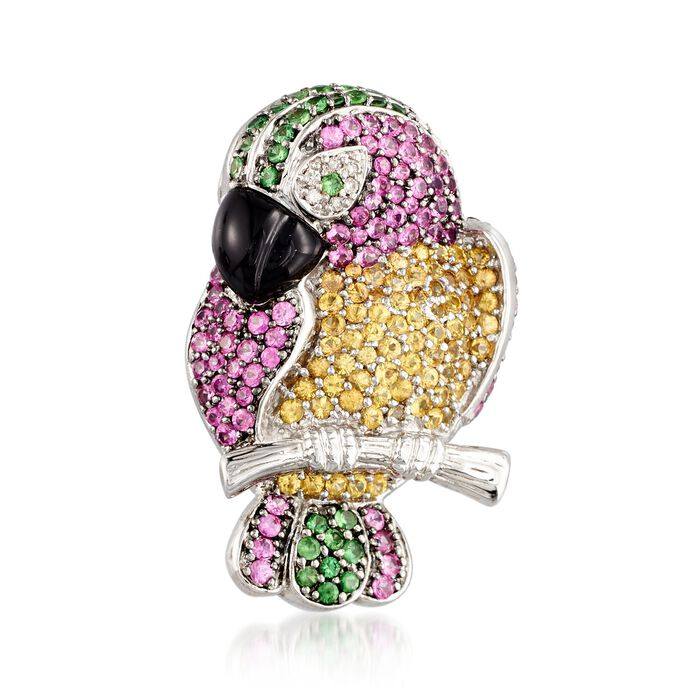C. 1990 Vintage Black Onyx and 4.10 ct. t.w. Multi-Stone Parrot Pin with Diamonds in 18kt White Gold, , default