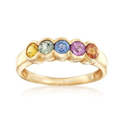 1.10 ct. t.w. Multicolored Sapphire Ring in 14kt Yellow Gold, , default