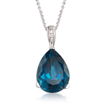 13.00 Carat London Blue Topaz Pendant Necklace With Diamond Accents in Sterling Silver, , default