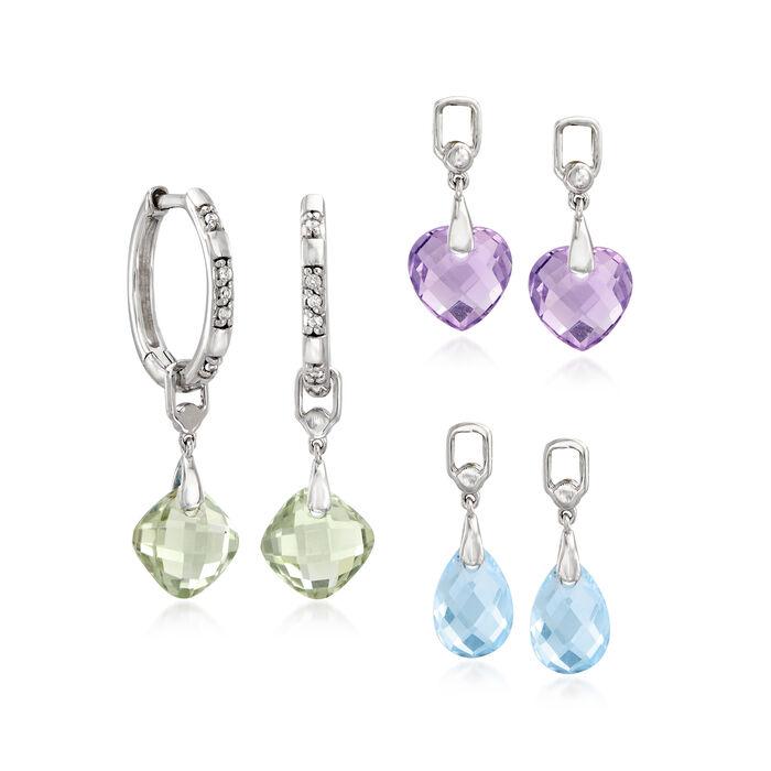Interchangeable Jewelry Set: Multi-Gemstone Hoop Drop Earrings in Sterling Silver