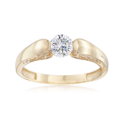 .50 Carat CZ Solitaire Ring in 14kt Yellow Gold, , default