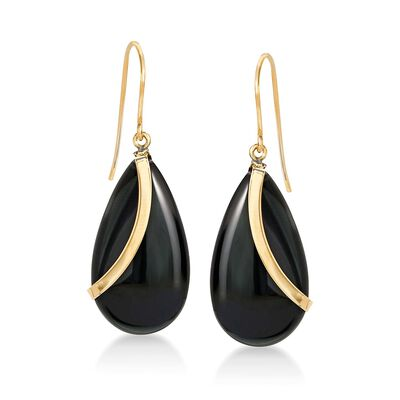 Pear-Shaped Black Onyx Drop Earrings in 14kt Yellow Gold