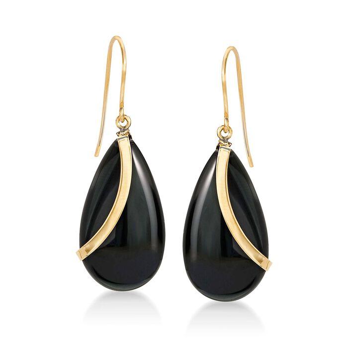Pear-Shaped Black Onyx Drop Earrings in 14kt Yellow Gold