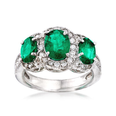 2.50 ct. t.w. Emerald and .56 ct. t.w. Diamond Three-Stone Ring in 14kt White Gold, , default