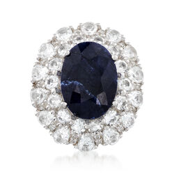 7.25 Carat Sapphire and 4.40 ct. t.w. White Topaz Ring in Sterling Silver, , default