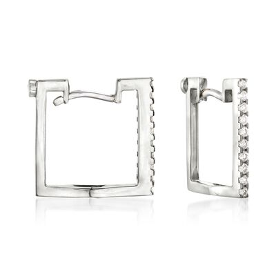 Roberto Coin .19 ct. t.w. Diamond Square Hoop Earrings in 18kt White Gold, , default
