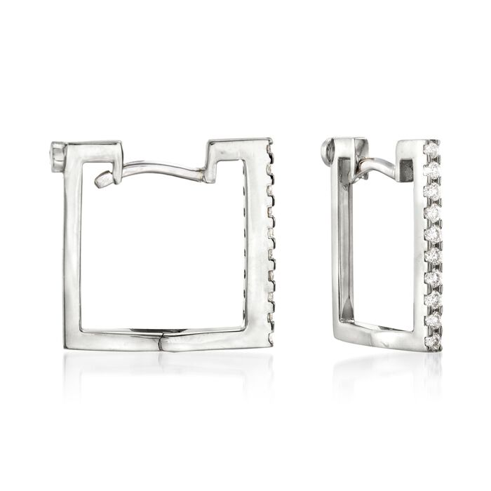 Roberto Coin .19 ct. t.w. Diamond Square Hoop Earrings in 18kt White Gold. 1/2""