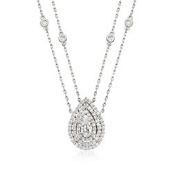 "1.00 ct. t.w. CZ Two-Strand Drop Necklace in Sterling Silver. 16"", , default"