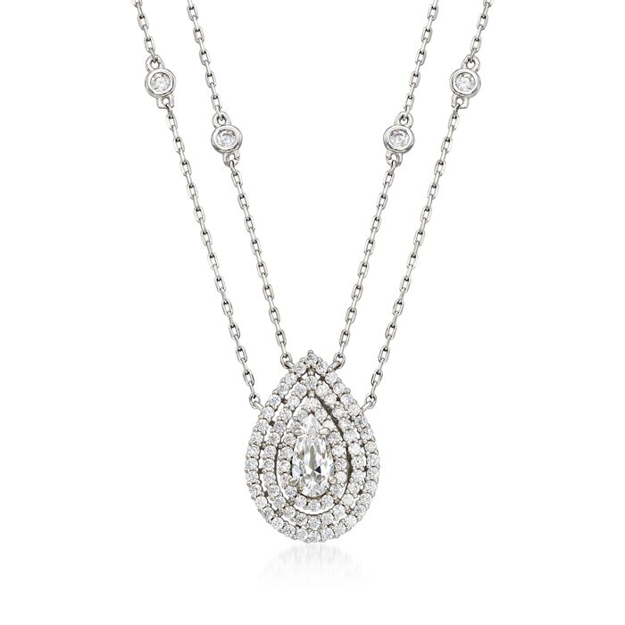 """1.00 ct. t.w. CZ Two-Strand Drop Necklace in Sterling Silver. 16"""", , default"""