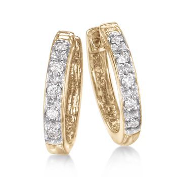 "Diamond Accent Huggie Hoop Earrings in 14kt Yellow Gold. 3/8"", , default"