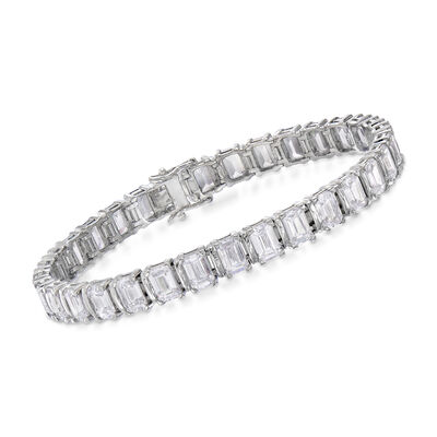 16.00 ct. t.w. Emerald-Cut CZ Bracelet in Sterling Silver