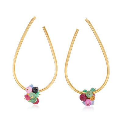 4.50 ct. t.w. Multi-Gemstone Front-Facing Hoop Earrings in 14kt Yellow Gold