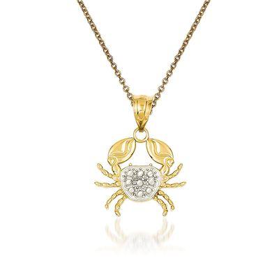 14kt Yellow Gold Crab Pendant Necklace, , default