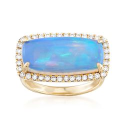 Ethiopian Opal and .41 ct. t.w. Diamond Ring in 14kt Yellow Gold, , default